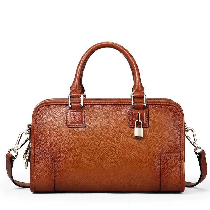 Фотография Womens Genuine Leather Top Handle Handbag Shoulder Bag Crossbody Handbags Satchel Purse Luxury Design Vintage Ladies Bags