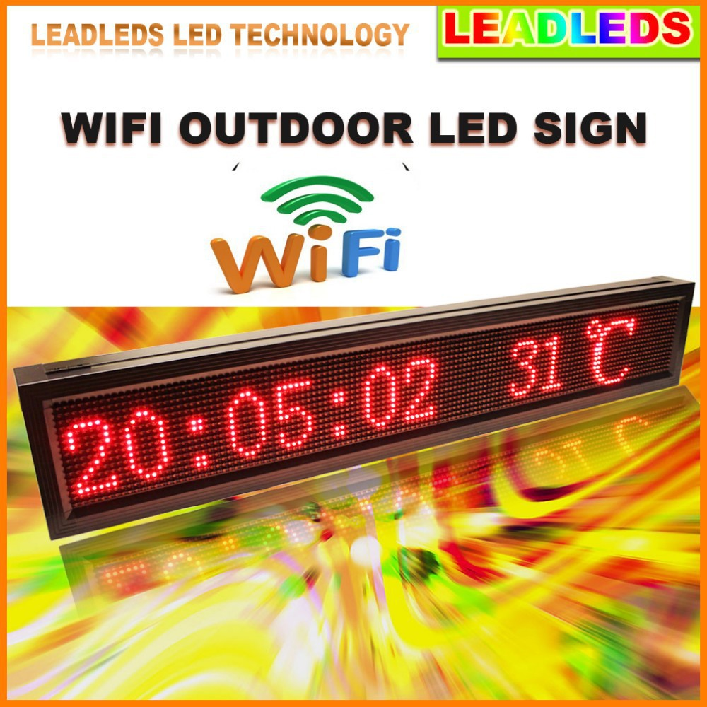 L 41 X H 9.5in P10 Outdoor RED-color Ultra Brightness Wifi Programmable Led Sign Display Message Board for Storefront(China (Mainland))