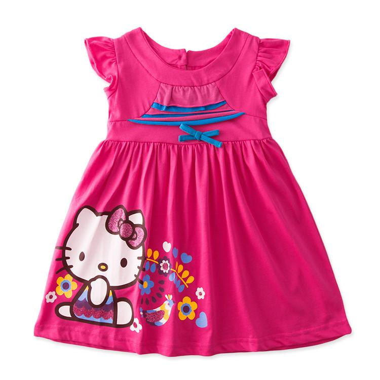 New 2015 Girls Summer cartoon hello kitty Dress Children short sleeve Dresses Kids fashion wear Baby Girl casual cotton dress(China (Mainland))