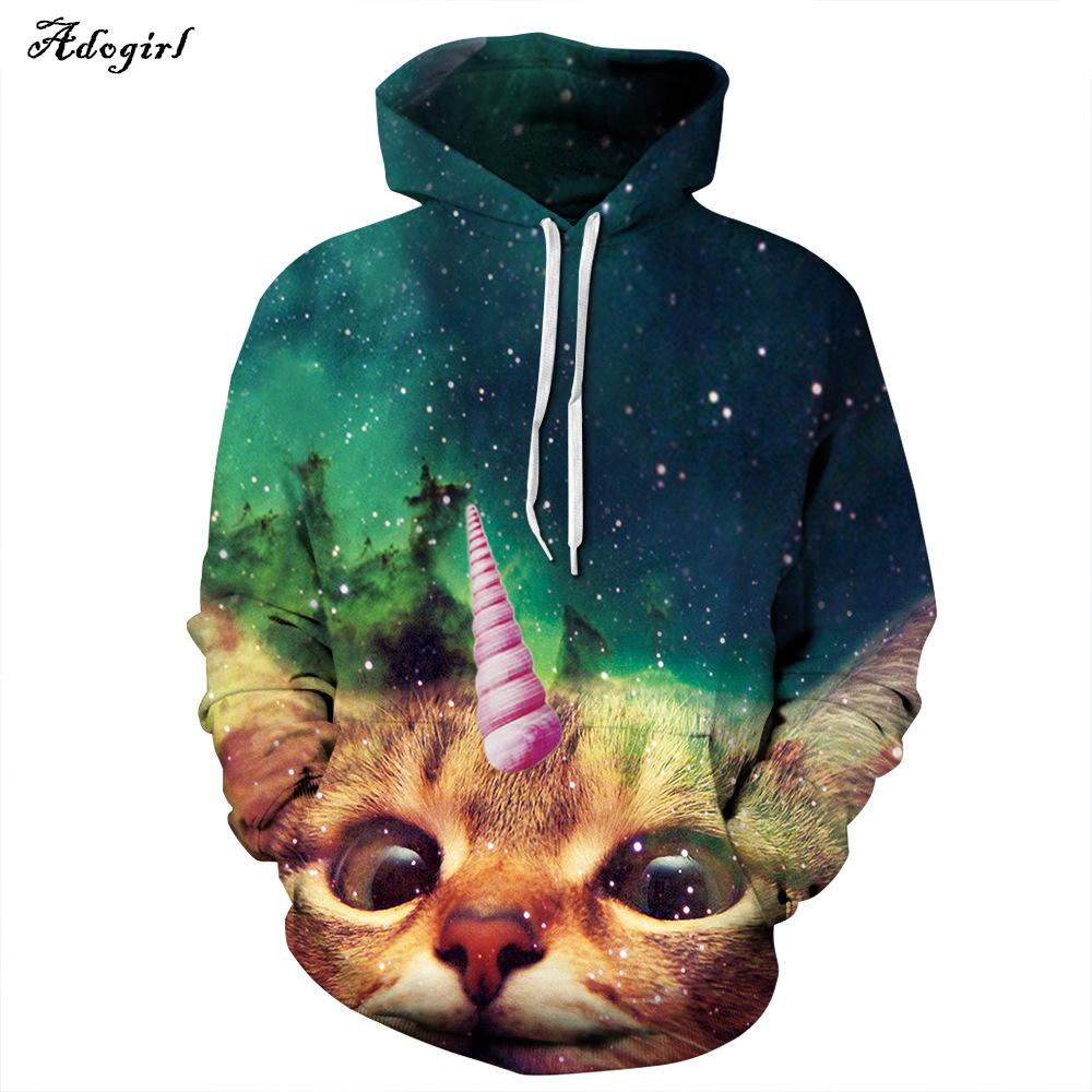 Wholesale Fashion Men/Women's Unicorn Cat Hoodie Winter/Autumn Harajuku Animal Sweatshirt 3d Printing Sweatshirts Clothes(China (Mainland))
