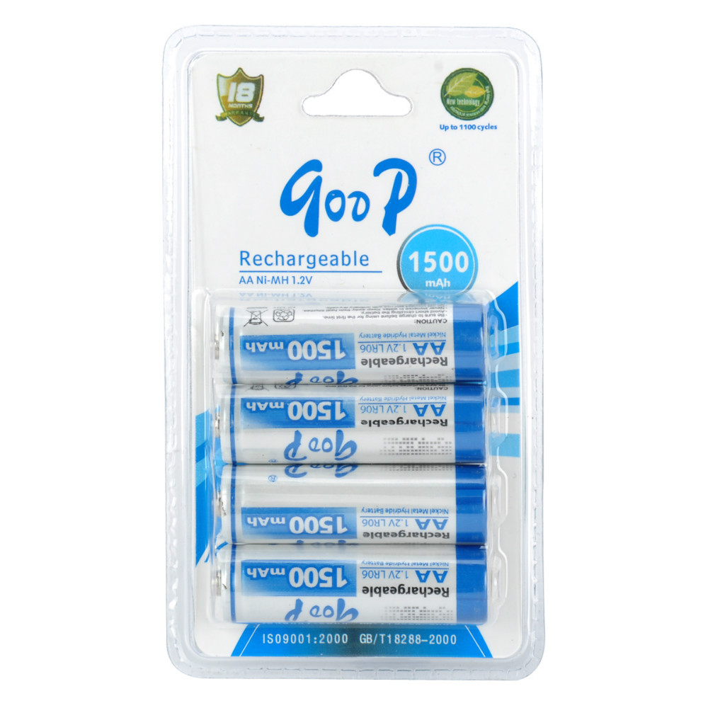 GOOP Replacement 1.2V 1500mAh Rechargeable NiMH AA Battery - White + Blue (4 PCS)(China (Mainland))