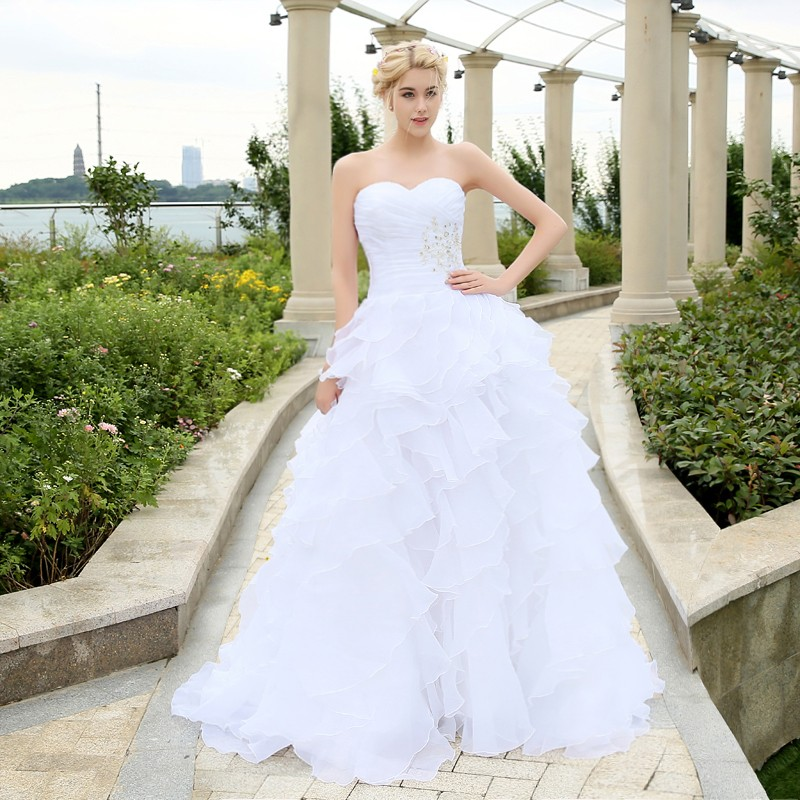 2016 Stock Corset Wedding Dresses Ivory White Robe de Mariee Organza Beaded Ruffled Plus Size Cheap Bridal Gown(China (Mainland))