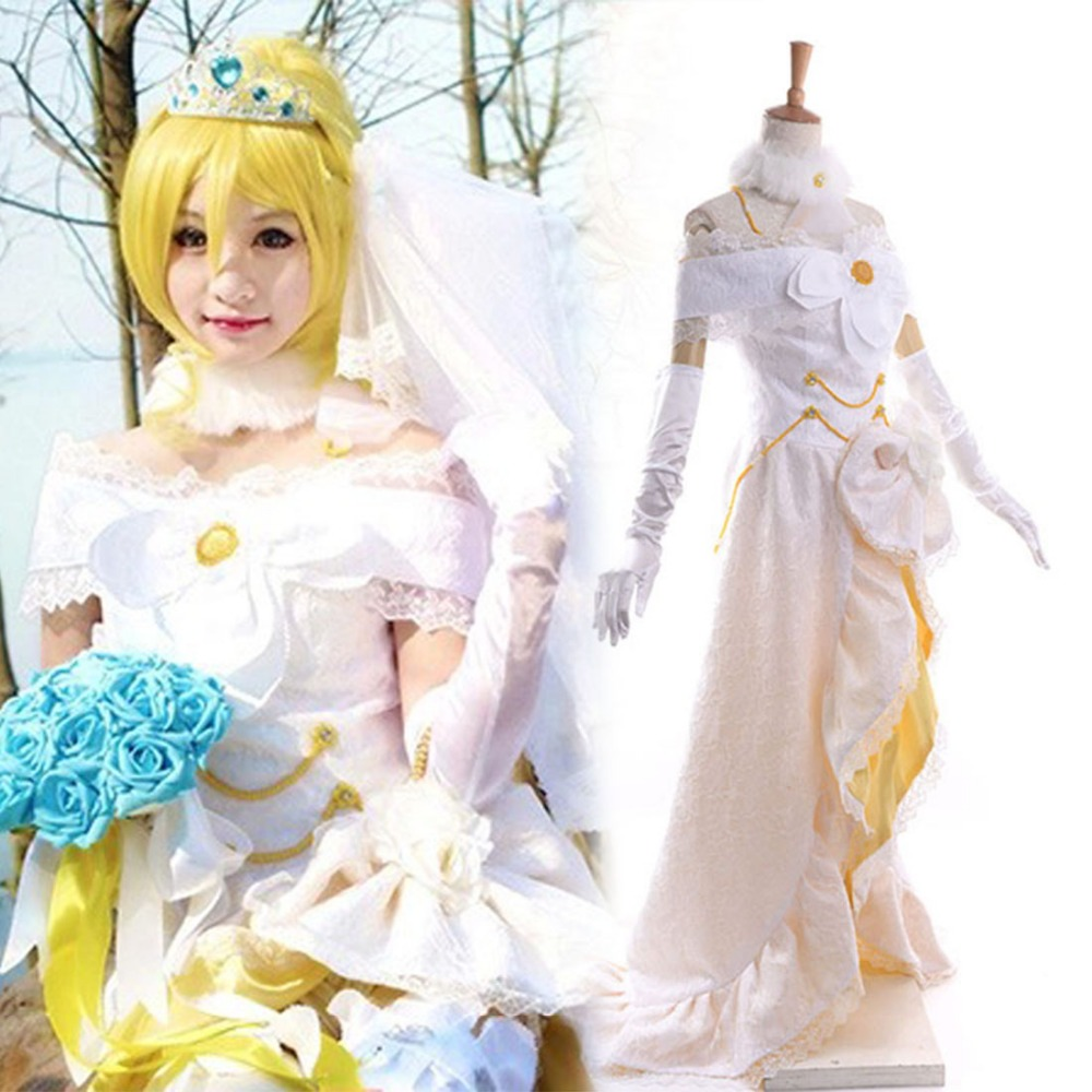 Love Live! School Idol Festival SR Eli Ayase Cosplay Wedding Dress Floor Length Asymmetrical with headpiece and Bridal VeilОдежда и ак�е��уары<br><br><br>Aliexpress