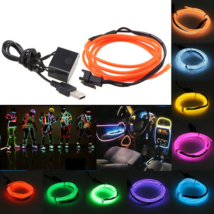 1M Flexible EL Wire Neon LED Strip Light Glow Tube Car Party Home Decorative Decor + USB Controller(China (Mainland))