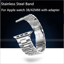 Stainless Steel Strap Classic Buckle  Watch Band for 2015 New  Apple Watch Sport 38mm 42mm with Metal Adapter connecter