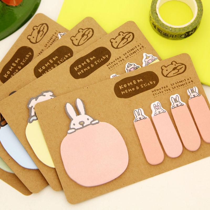 Novelty Kawaii Animal Kraft Paper Mini Memo Pad Sticky Notes Bookmark Gift Stationery(China (Mainland))