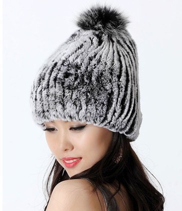 2014 Autumn Winter Women's Genuine Rex Rabbit Fur Hats Fox Ball Female Warm Caps Lady Beanies - ZDFURS factory store