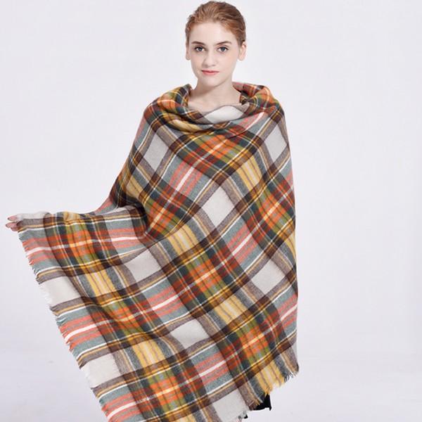 winter oversize plaid new designer blanket acrylic wrap cashmere scarf shawl pashmina for spring fall