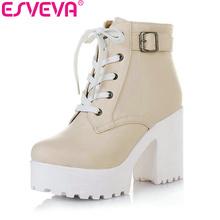 ESVEVA 3 Color Winter Lace-Up Sexy Women Boots Fashion Platform punk high square heels Black Buckle Ankle boots Plus Size 34-43(China (Mainland))