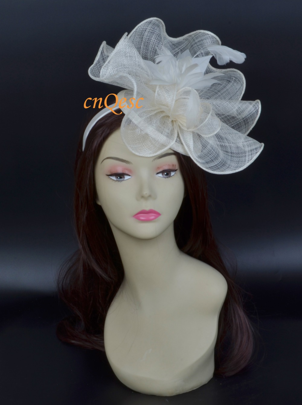 Cream big sinamay fascinator hat for kentucky derby wedding.(China (Mainland))