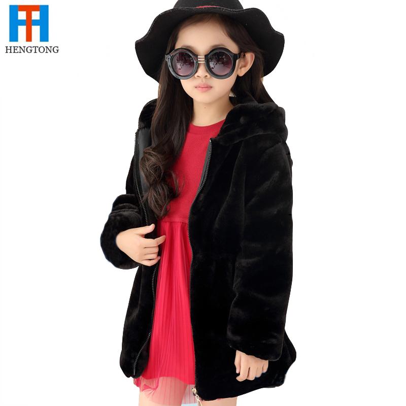 Children's clothing winter child fur long design woolen outerwear medium-large child thermal trench girls cardigan(China (Mainland))