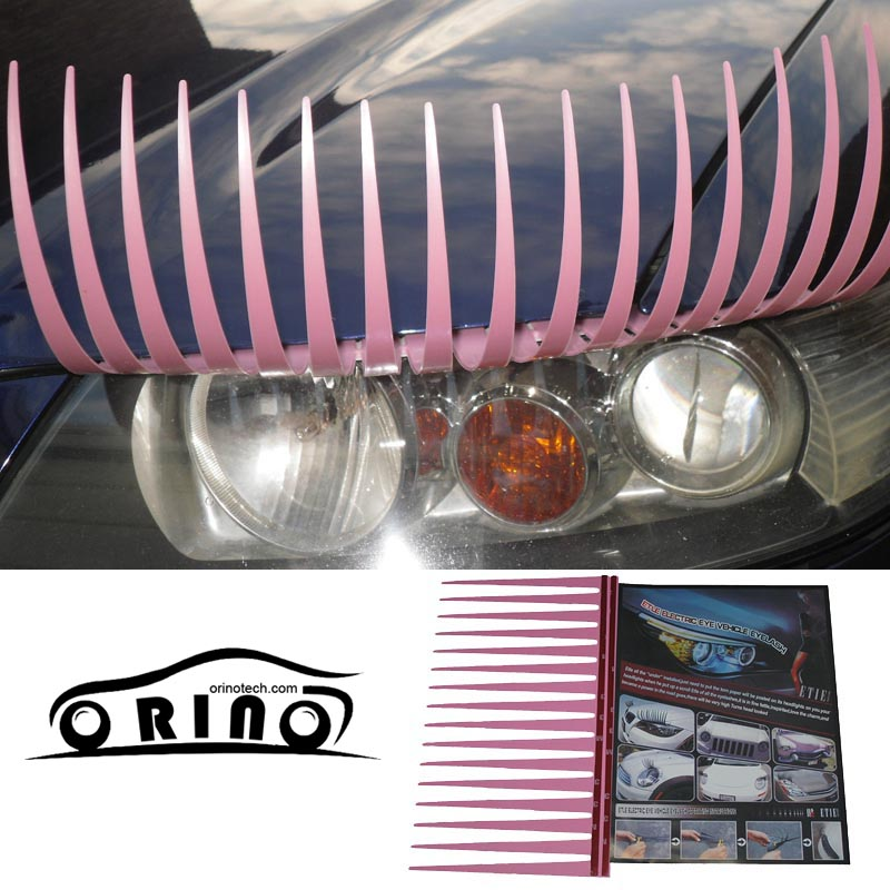 Hot Sale 1pair=2pcs/lot Hot selling 31cm Pink Color 3D Car Cecor Stickers And Decals For Headlights Car Eyelashes(China (Mainland))