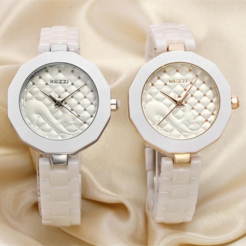 NEW fashion casual KEZZI brand best quality ceramic rhinestone luxury women clock female elegant wrist ladies quartz watch K1115