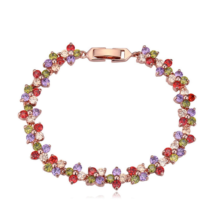 new Luxury crystal fashion woman sell well flowers blooming plating gold bracelet Zircon Bangle Bracelet 111333(China (Mainland))