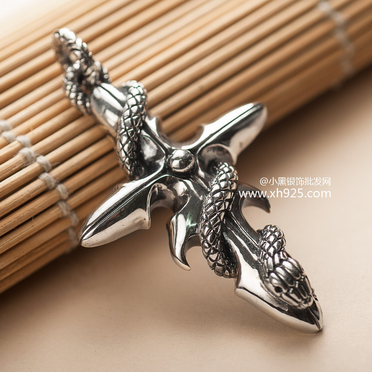 Black silver jewelry wholesale 925 sterling silver jewelry silver Thailand import snake Cross Pendant man 038756(China (Mainland))