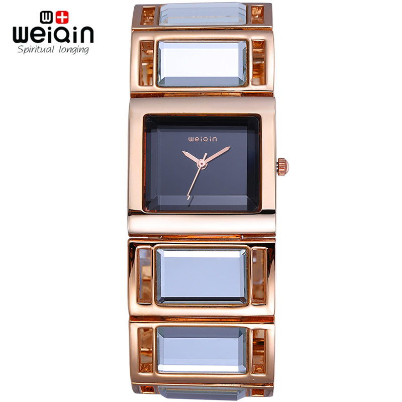 Weiqin Luxury Hardlex Gold Mirror Strap Womens Bracelet Watches Colorful Shell Square Dial Fashion Watch Lady Relogio Feminino<br><br>Aliexpress