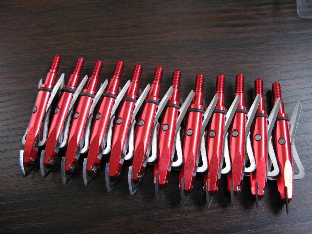 12 PCs New 2-Blade Expandible Red Broadheads Arrow 100 Grain Tip 2