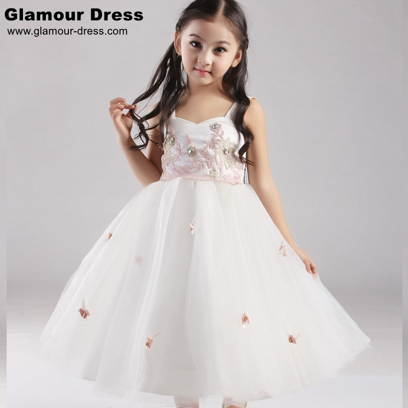 Elegant child dress 2015 flower girl dresses for wedding party girl princess dress ivory pink dress plus size in stock sale 5071(China (Mainland))