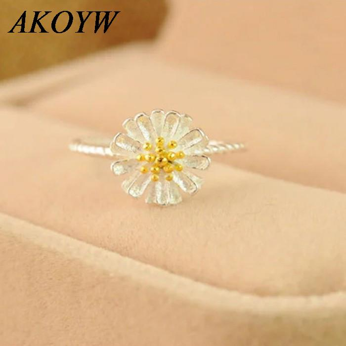 Manufacturers, wholesale sterling silver rings, Ms. Daisy flowers opening Korea personalized couple rings silver jewelry(China (Mainland))