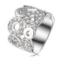 2015 New Design Engagement Rings Platinum Plated Genuine Austrian Crystal SWA Element Round Ring Fashion Jewelry Ri-HQ0061(China (Mainland))