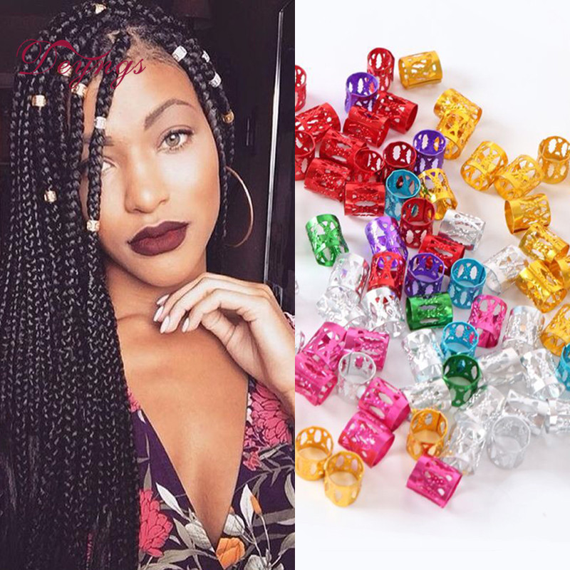Free Shipping Hair Beads Braids 100 PcsLot 5 Colors Dreadlock Beads Adjustable Cuff Micro Rings 8.5MM Hole Metal Tube Lock