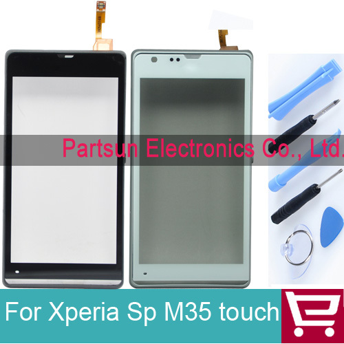 Original Touch Screen for Xperia Sp M35 M35h touch digitizer assembly frame white/black with free tools+tracking code(China (Mainland))