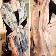 Chiffon Scarf Women Blue And White Slik Scarf Female Designer Brand Ladies Scarves 2015 Shawl Foulard Femme Scarfs Spring Summer(China (Mainland))