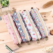 new 2016 hot sale  Fashiong School Girls Flower Lace Floral Pencil Case Pen Bag Purse Cosmetic Makeup Pouch Bag free shipping(China (Mainland))