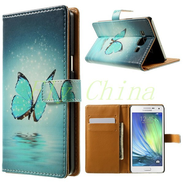 Wolf & Moon Pattern Leather Wallet Case for Samsung Galaxy A5 A500 SM-A500F With Stand 1PCS Free Shipping 001(China (Mainland))