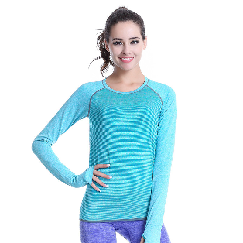 Women casual fitness shirts long sleeve sports running for Women s running shirts