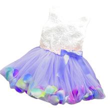 Summer baby girls dress girl flower rose petal hem dress candy colorl cute dress vestidos infantis 1-2 year drop shipping BC102(China (Mainland))