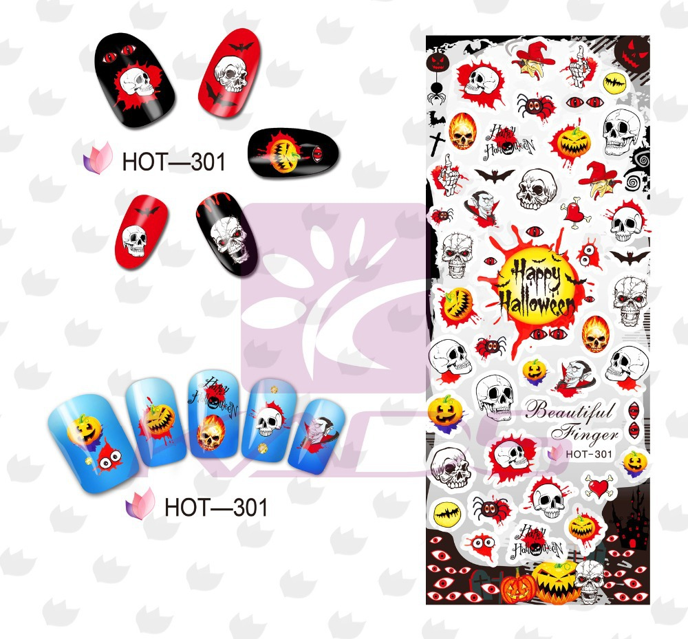 2015 new colorful Halloween design nail water decal water transfer skull nail stickers Nail Art Tips Manicure DIY Decoration(China (Mainland))