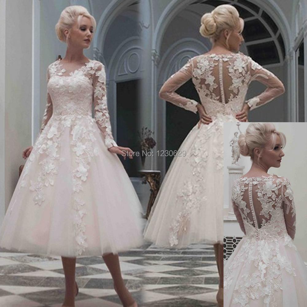 Tea length wedding dresses with sleeves dress yp for Long sleeve tea length wedding dresses