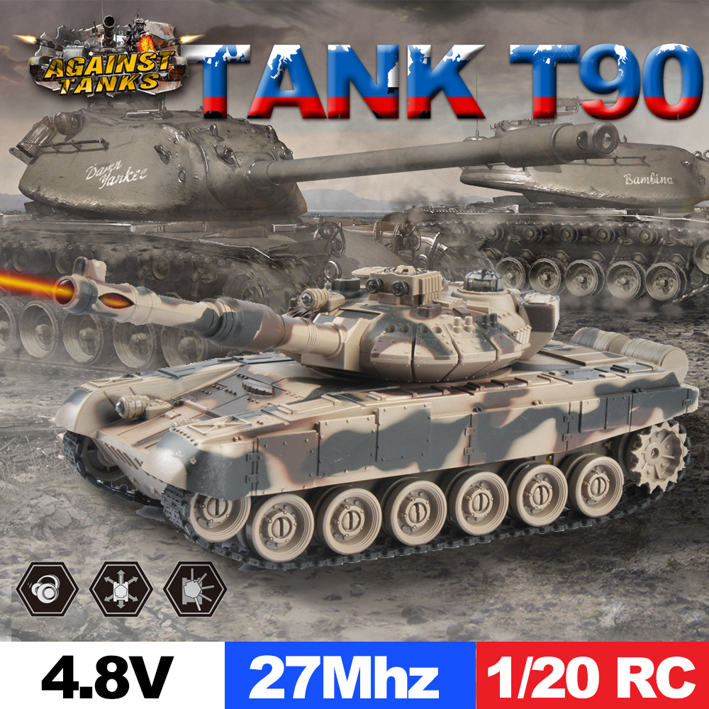 E-TOP 1/20 9CH 27Mhz Infrared RC Battle Tiger T90 Tank Cannon And Emmagee Remote Control tank fort 330 degree rotate(China (Mainland))