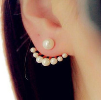 New Fashion Double Ball Earrings For Ladies Pearl Stud Earrings Silver Gold Filled Earrings Wholesale Jewelry Boucle Oreille