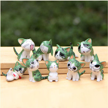 Super Cute!! 9pcs/set Cheese Cat Action Figure Toy Baby Room Decoration Children Gifts Kids Birthday Gifts