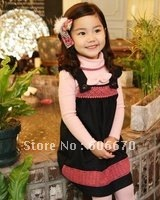 New Arrival! Lovery Kids Baby Girls Clothing Set Braces Skirts Dress + Tee shirts + legging 3 piece set Cotton Size 2T to 8T