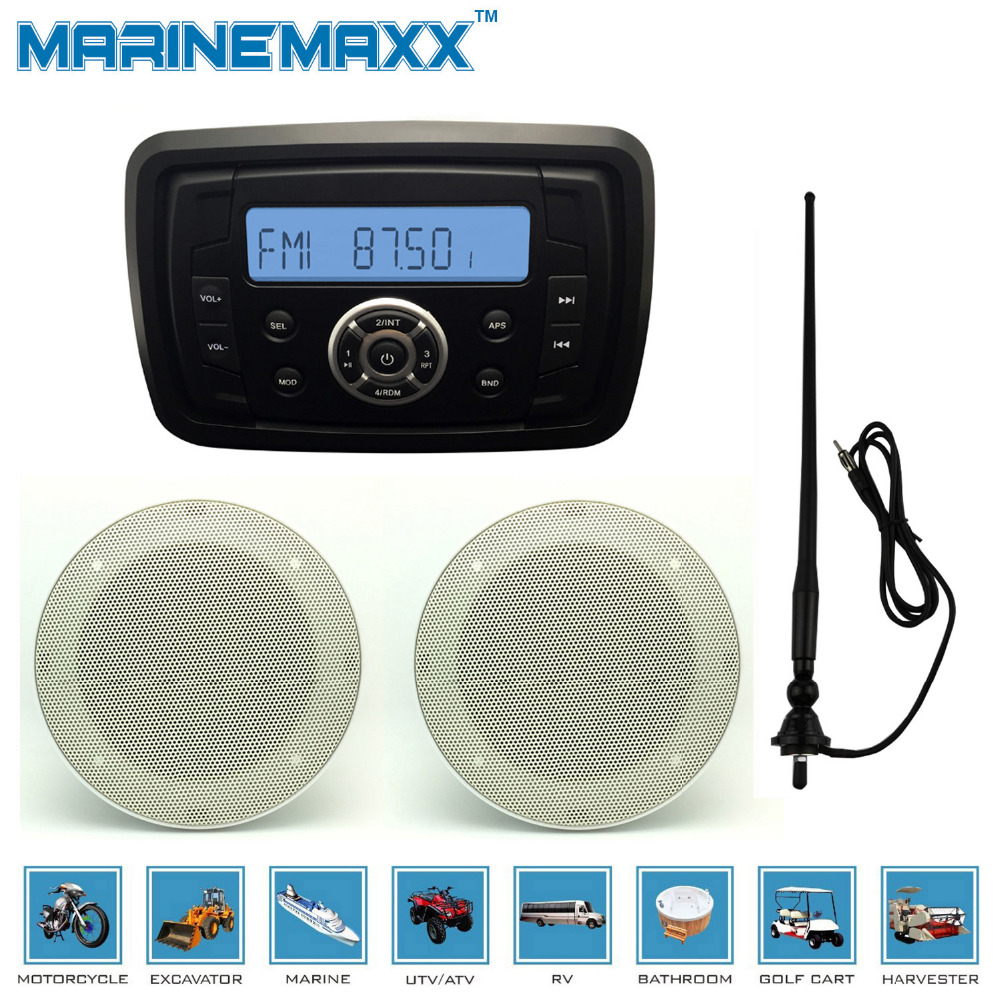"Waterproof Marine Radio Audio Stereo Receiver MP3 FM AM With Bluetooth Function+1Pair 4"" White marine Speaker+Antenna(China (Mainland))"