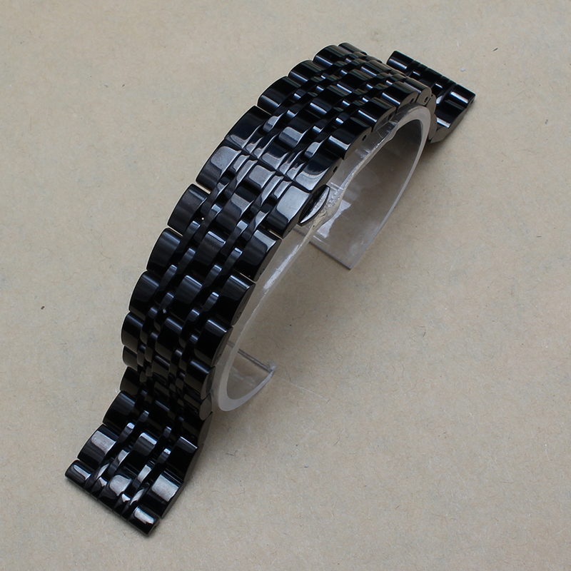 14mm 16mm 18mm 20mm 22mm New Men Top Grade Black Brushed Metal Stainless Steel Watchband BANDS Strap Double Push Clasp - The East Store Of Accessories store
