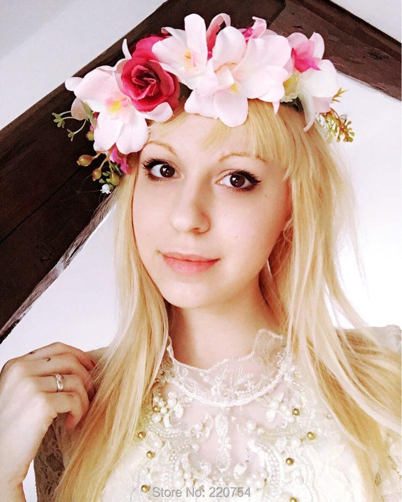 2016 New Women Wedding Rose Flower Wreath headband Kids Party Floral garlands Ribbon Adjustable flower crown