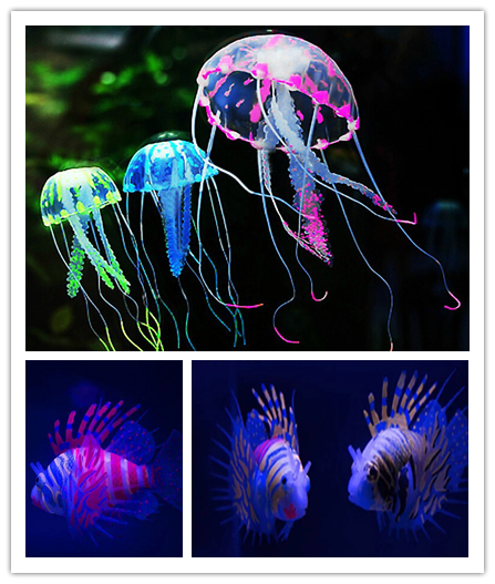 Aquarium Artificial Ornament Fish Tank Decoration, Jellyfish, Lionfish, 3 sizes 6 colors worldwide free shipping(China (Mainland))