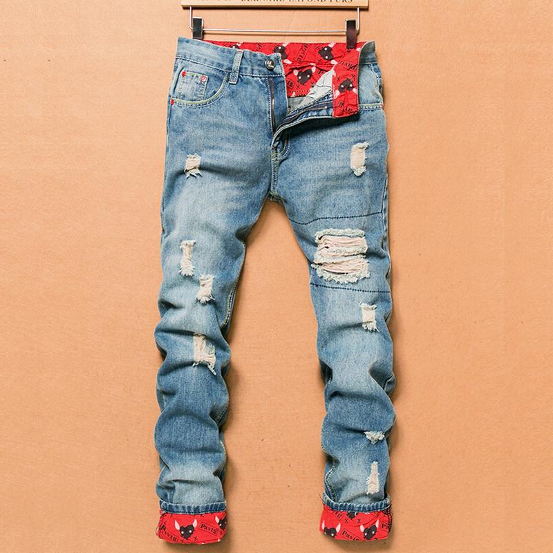 2016 Retro Fashion Slim Skinny Jeans Mens Solid Casual Straight Jeans Designer Brand Ripped Jeans Men, Light Blue Denim Pants