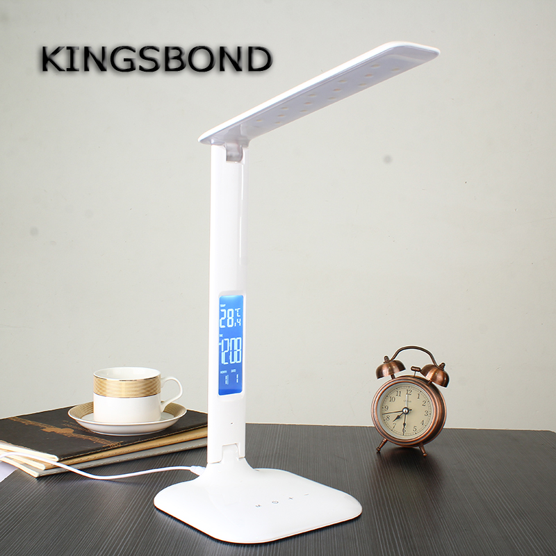 Dimmable LED Table Lamp Led Rechargeable Desk Lamp Eye Protection Portable LED reading lamp With Calendar Alarm Colck(China (Mainland))