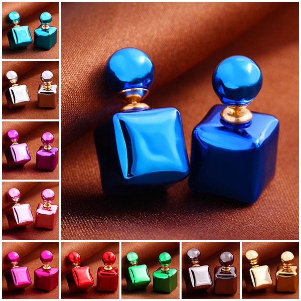 New Design Fashion Charm Colorful Candy colors Bead Square Stud earrings jewelry Statement earring for women 2015 M11(China (Mainland))