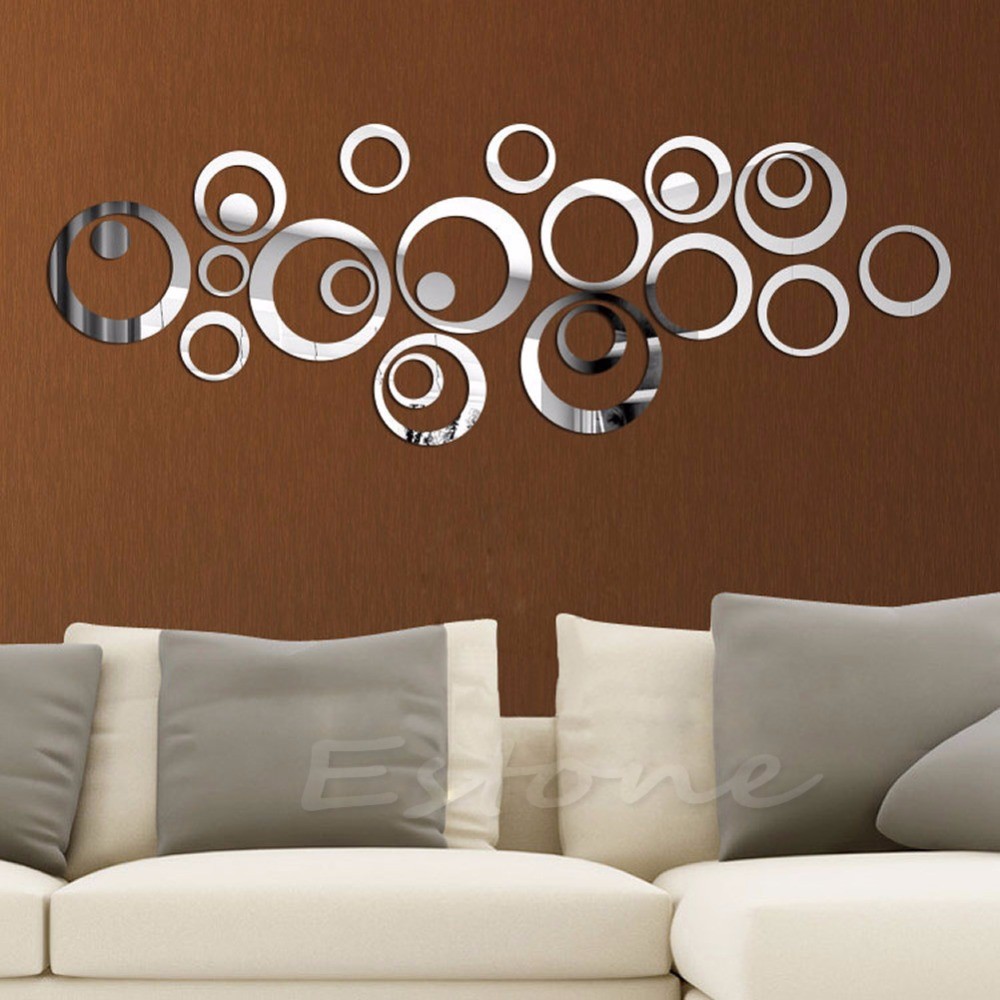 Fashion Circles Mirror Style Removable Decal Vinyl Art Wall Sticker Home Decor(China (Mainland))