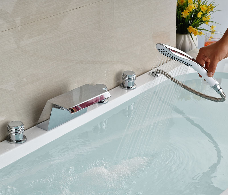 Фотография Lcxury Chorme Polish Deck Mounted Faucet Bathtub Faucet W/Hand Shower Tap Hot&Cold Faucet