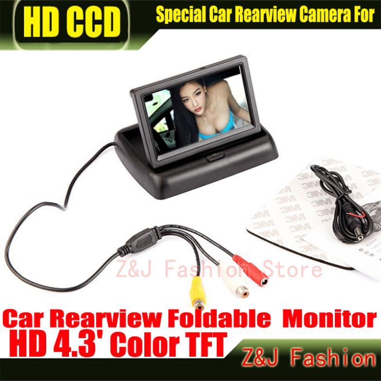 "Hot! 4.3"" TFT LCD Color Monitor car dashboard safety monitoring of Auto Reversing Parking Foldable Camera Rearview Monitor(China (Mainland))"