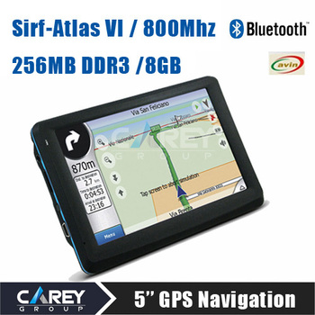 New arrival! SirF Atlas VI Dual core 800MHz   5 inch GPS Navigation  DDR3 256MB 8GB Bluetooth AV IN free maps A5001
