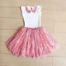 2016 New Fashion Girls Clothing Set t-shirt + skirt suit 2pcs sequined party princess tutu skirt suits baby girls clothing kids(China (Mainland))