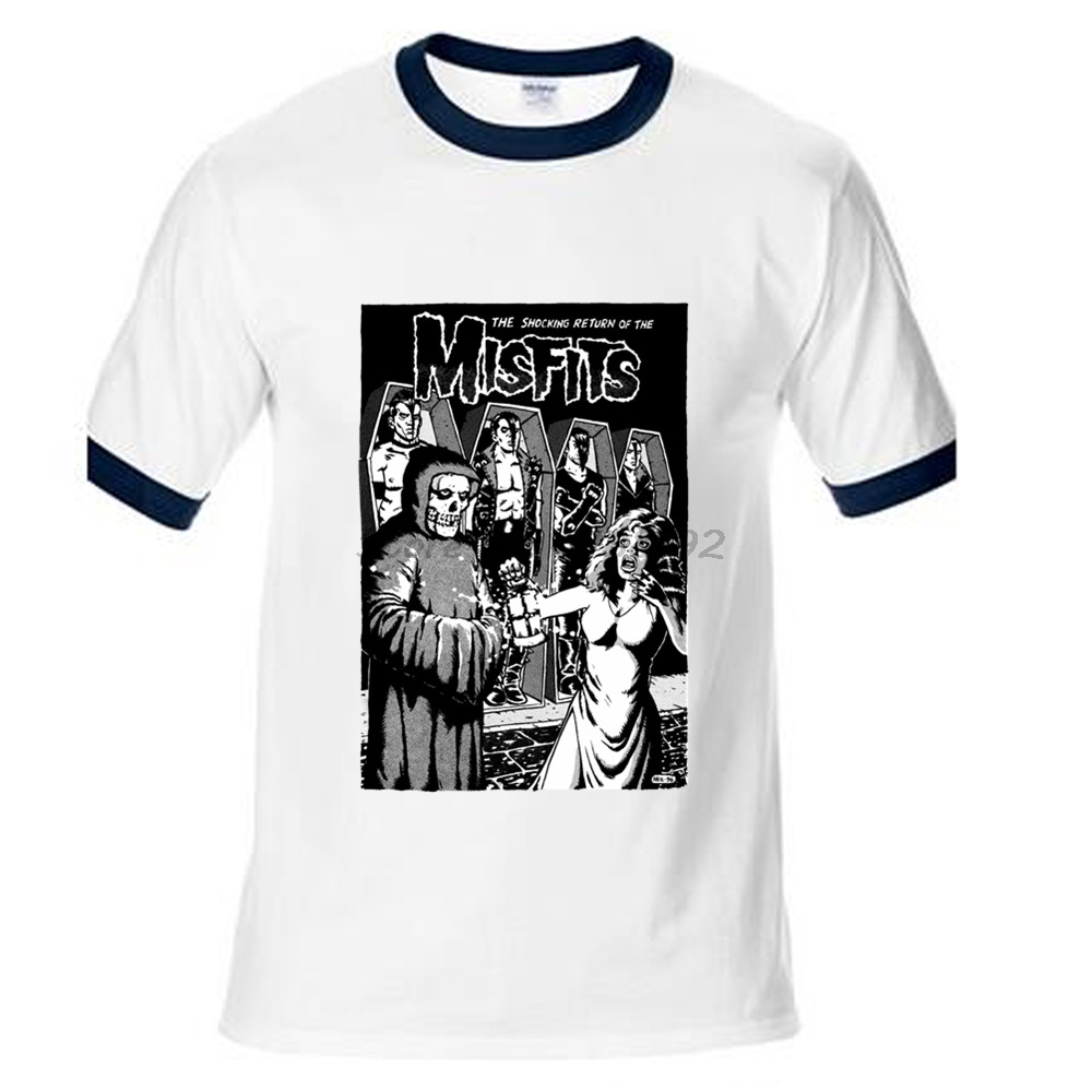 T shirt printing at white rose - The Shocking Return Of The Misfits Black And White Poster Printing Guns Roses Slayer Men T